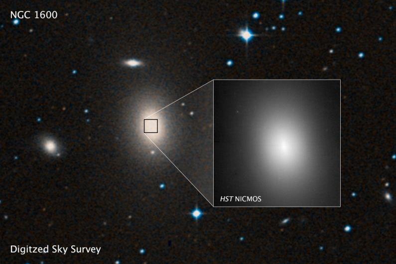 A sky survey image of the massive galaxy NGC 1600. ESA/Hubble image courtesy of STScI.