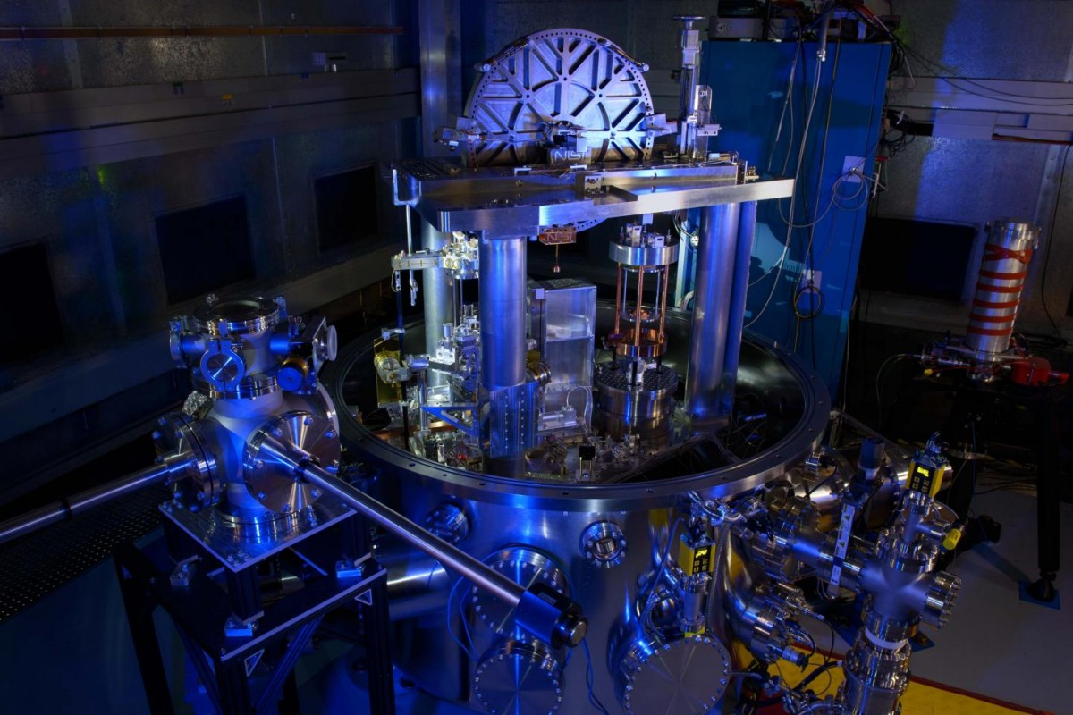 The NIST-4 watt balance is shown. The instrument recently took its first full measurements of Planck's constant, an important step toward redefining the kilogram. Credit: Jennifer Lauren Lee/NIST PML.