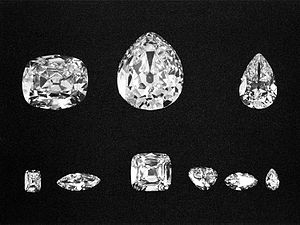 The nine major stones cut from the rough diamond. Top: Cullinans II, I, and III. Bottom: Cullinans VIII, VI, IV, V, VII and IX. Source: Wikipedia Commons.