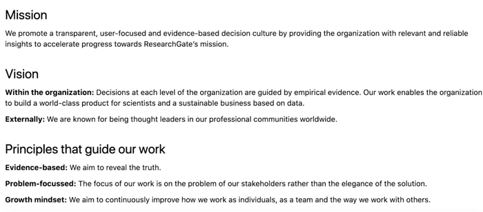 Mission, Vision & principles that guide our work